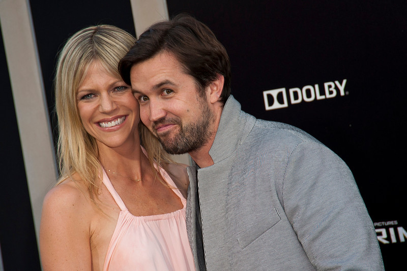 HOLLYWOOD, CA - JULY 09: Actors Kaitlin Olson (L) and Rob McElhenney arrive at the premiere of Warner Bros. Pictures' and Legendary Pictures' 'Pacific Rim' at Dolby Theatre on Tuesday, July 9, 2013 in Hollywood, California. (Photo by Tom Sorensen/Moovieboy Pictures)