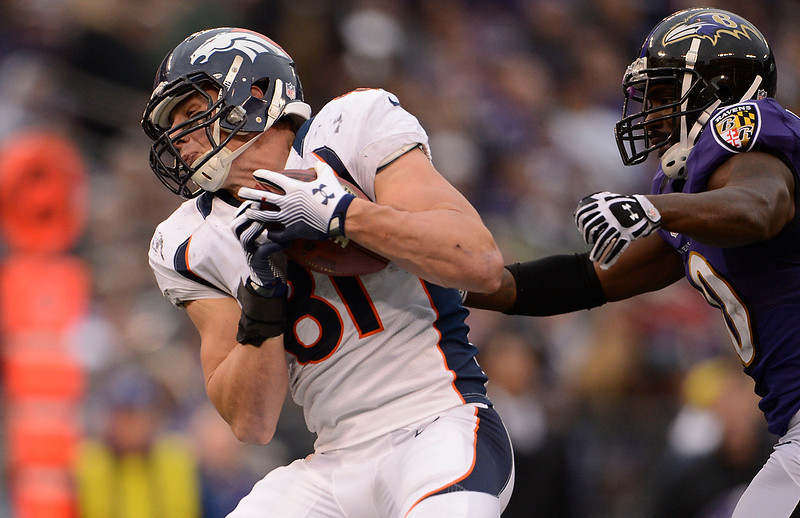 . Denver Broncos tight end Joel Dreessen (81) catches a deep pass on Baltimore Ravens free safety Ed Reed (20) during the third quarter Sunday, December 16, 2012 at M&T Bank Stadium. John Leyba, The Denver Post