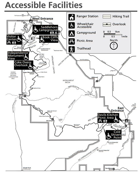 Colorado National Monument (Accessible Facilities Map)