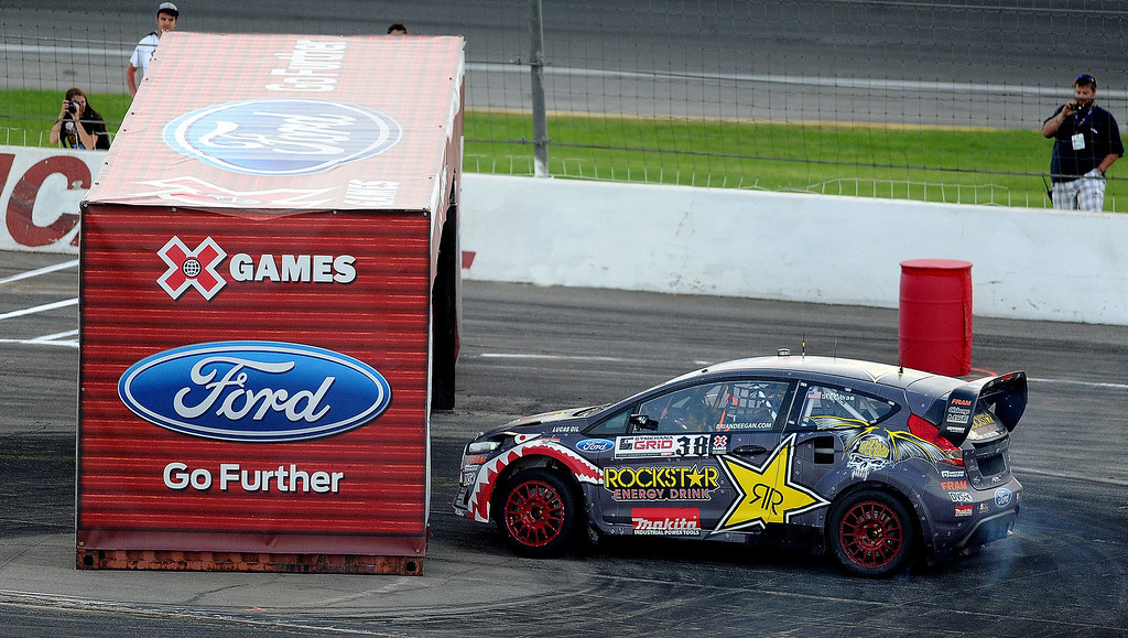 . Brian Deegan races during the X Games Gymkhana Grid finals at Irwindale Speedway on Saturday, Aug. 3, 2013 in Irwindale, Calif.   (Keith Birmingham/Pasadena Star-News)