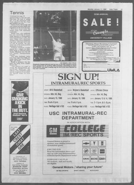 Daily Trojan, Vol. 106, No. 2, January 11, 1988