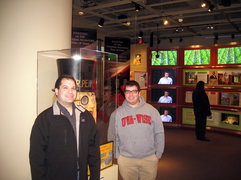 Craig and Jordan with Mr. Peanut, in the Inventive Eats: Incredible Food Innovations exhibit, in the National Inventors Hall of Fame and Museum, at the U.S. Patent and Trademark Office (3/9/11)