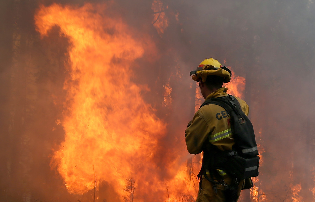 . GROVELAND, CA - AUGUST 22:  A firefighter from Central Calaveras Fire monitors the Rim Fire on August 22, 2013 in Groveland, California. The Rim Fire continues to burn out of control and threatens 2,500 homes outside of Yosemite National Park. Over 1,000 firefighters are battling the blaze that was reduced to only 2 percent containment after it nearly tripled in size overnight.  (Photo by Justin Sullivan/Getty Images)
