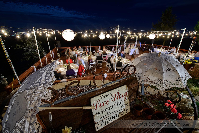 wide view of backyard wedding reception