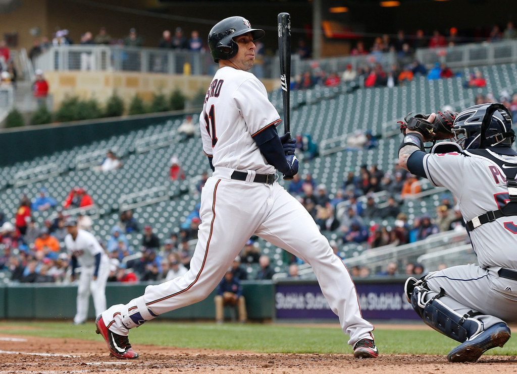 . Minnesota Twins\' Jason Castro avoids a close pitch by Cleveland Indians pitcher Trevor Bauer in the fourth inning of a baseball game Thursday, April 20, 2017, in Minneapolis. (AP Photo/Jim Mone)