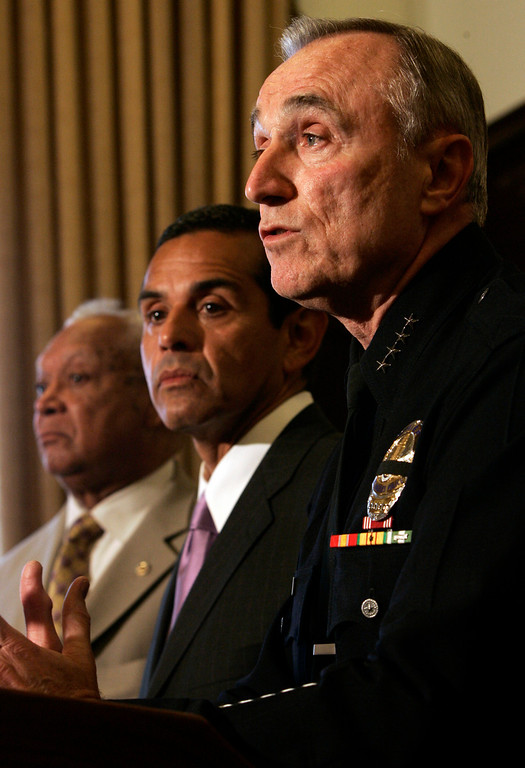 . Police Commission President John Mack Mayor Antonio Villaraigosa, and LAPD Chief William Bratton during a press conference to discuss accountability measures regarding the events of May 1 at MacArthur Park Monday May 7, 2007 at Los Angeles City Hall in Los Angeles, California .  (Hans Gutknecht/L.A. Daily News)