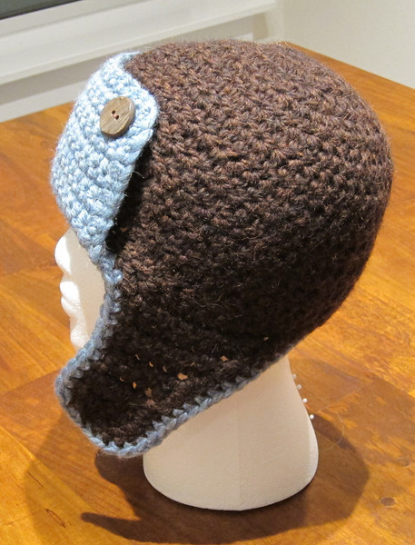 Mandi's Horseback Bomber Hat Made from Berroco Peruvia Quick in Palomino Blue and Saddle Brown Pattern Bomber Hat by Adrienne Engar