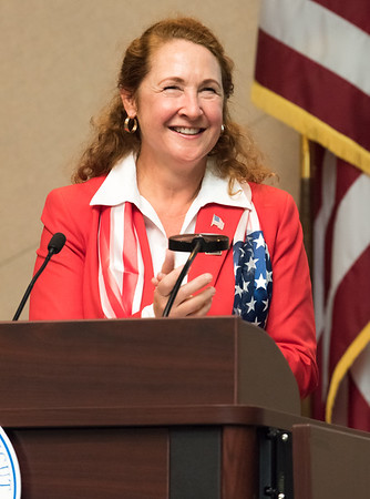 11/09/17 Wesley Bunnell | Staff CCSU held a Veterans Day Observance Ceremony on Friday afternoon in Alumni Hall. Congresswoman Elizabeth Esty addresses the group.