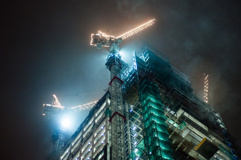 Heron Tower construction in the mist