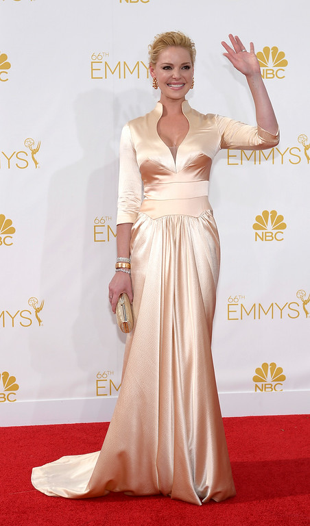 . Katherine Heigl on the red carpet at the 66th Primetime Emmy Awards show at the Nokia Theatre in Los Angeles, California on Monday August 25, 2014. (Photo by John McCoy / Los Angeles Daily News)