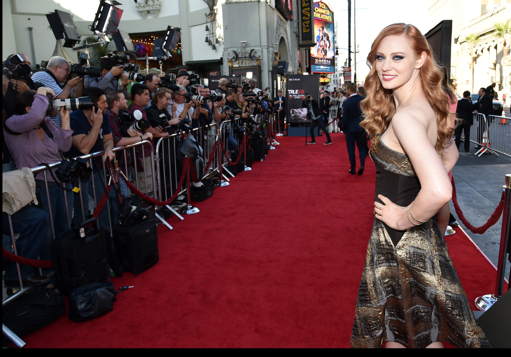Description of . Deborah Ann Woll arrives at the Los Angeles premiere of the 7th and final season of