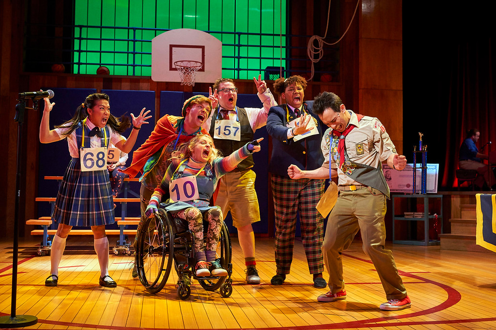 . The cast of the Cleveland Play House production of �The 25th Annual Putnam County Spelling Bee� performs. The show continues through May 6 at Playhouse Square\'s Allen Theatre. For more information, visit www.clevelandplayhouse.com. (Roger Mastroianni)