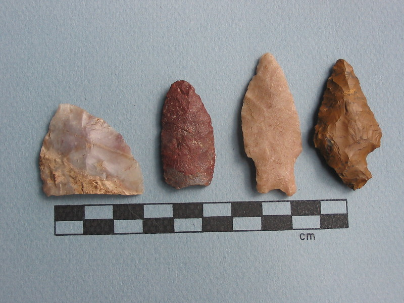 Four projectile point fragments found high above treeline in the Wind River Range.