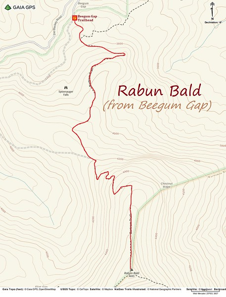 Rabun Bald Hike Route Map