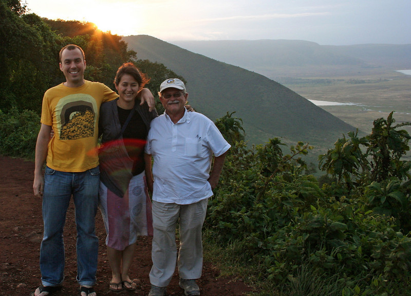 me, dianna and her father victor on the rim of ngorongoro crater