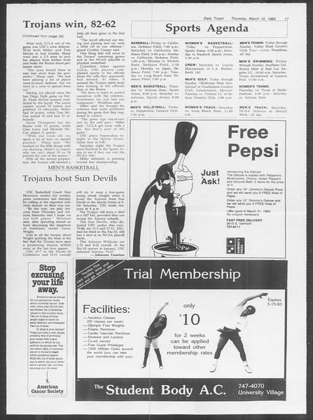 Daily Trojan, Vol. 93, No. 40, March 10, 1983