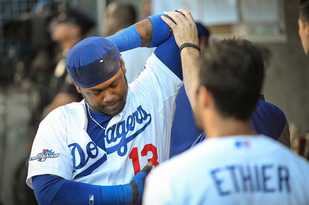 . Dodgers\' Hanley Ramirez gets stretched before batting against the Cardinals in the NLCS game 3 at Dodger Stadium Monday, October 14, 2013 (Photo by Andy Holzman/Los Angeles Daily News)