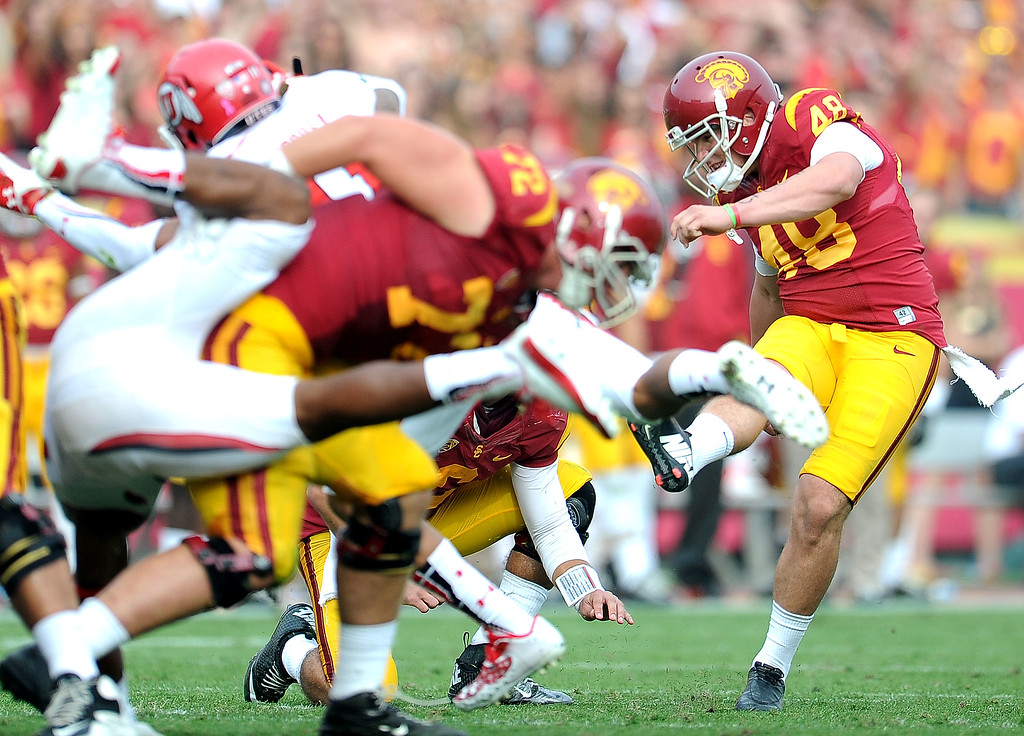 . Southern California kicker Andre Heidari (48) with a field goal attempt during the second half of an NCAA college football game against Utah in the Los Angeles Memorial Coliseum in Los Angeles, on Saturday, Oct. 26, 2013. Southern California won 19-3.   (Photo by Keith Birmingham/Pasadena Star-News)