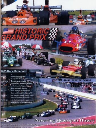 This is the ad for the 2005 schedule of  Historic Grand Prix containing my photo (at the bottom).  It appears in the Jan.-Feb. 2005 issue of Vintage Motorsport.  My photo also appears on the HGP web site: www.historicgrandprix.com