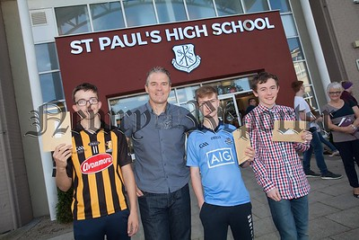 St Paul's HS Bessbrook Principal Jarlath Burns with Damien McDonnell, Bryan Travers and Matthews Burns. R1635009