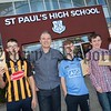 St Paul's HS Bessbrook Principal Jarlath Burns with Damien McDonnell, Bryan Travers and Matthews Burns. R1635009