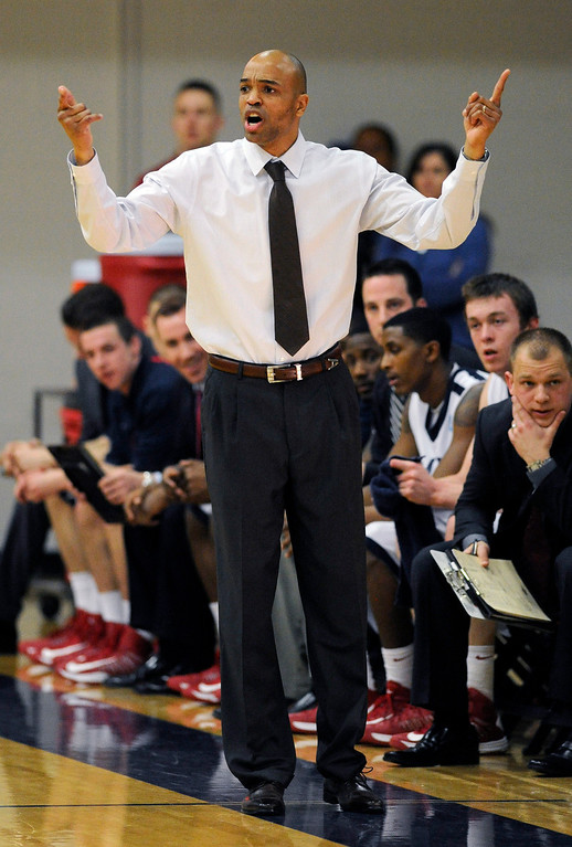 . DENVER, CO. - MARCH 5: Roadrunners coach Derrick Clark set up the offense from the bench in the first half. The Metro State University of Denver men\'s basketball team defeated Colorado Christian University 87-75 Tuesday night, March 5, 2013. (Photo By Karl Gehring/The Denver Post)