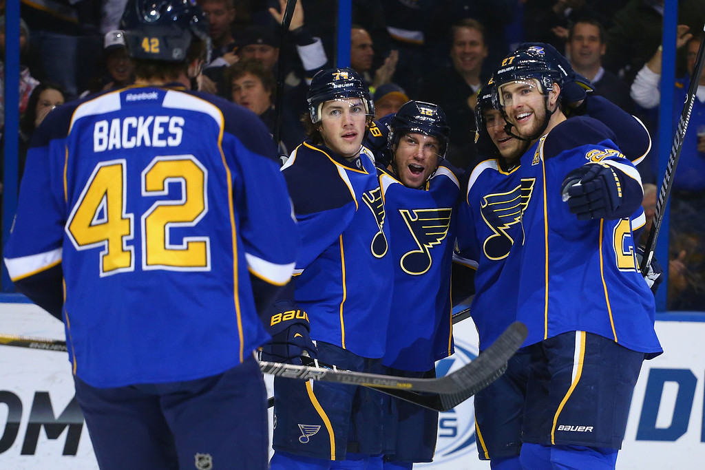. ST. LOUIS, MO - NOVEMBER 14:  T.J. Oshie #74, Derek Roy #12 Alexander Steen #20  and Alex Pietrangelo #27 of the St. Louis Blues celebrate Roy\'s goal against the Colorado Avalanche at the Scottrade Center on November 14, 2013 in St. Louis, Missouri.  (Photo by Dilip Vishwanat/Getty Images)