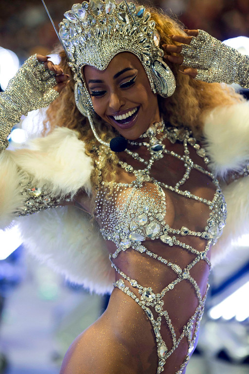 . Drum queen Sabrina Sato from the Vila Isabel samba school performs during Carnival celebrations at the Sambadrome in Rio de Janeiro, Brazil, Monday, Feb. 27, 2017. (AP Photo/Mauro Pimentel)