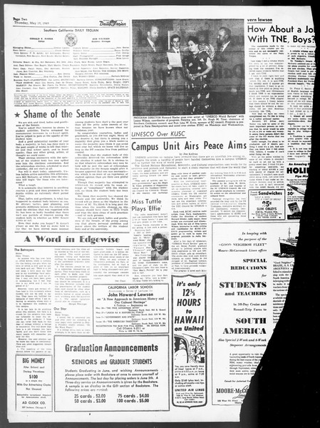 Daily Trojan, Vol. 40, No. 143, May 19, 1949