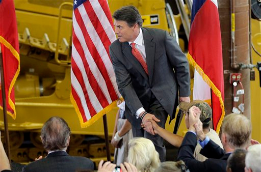Description of . Texas Gov. Rick Perry greets supporters before announcing he will not seek reelection for governor, Monday, July 8, 2013, at Holt Cat in San Antonio, Texas. A staunch Christian conservative, proven job-creator and fierce defender of states' rights, Perry has been in office nearly 13 years, making him the nation's longest-sitting current governor. (AP Photo/Eric Gay)