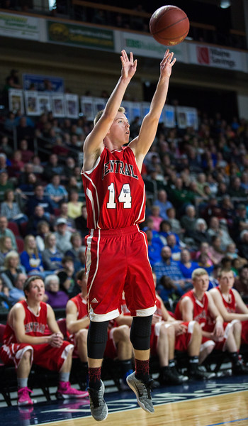 BANGOR, MAINE -- 02/22/2017 -- Central's Micha M. Ward shoots during their boys class B semifinal game against Mount Desert Island at the Cross Insurance Center in Bangor on Wednesday afternoon. Micky Bedell | BDN