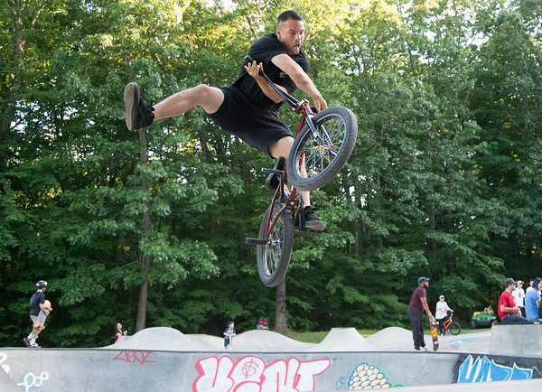 06/21/19 Wesley Bunnell | Staff New Britain held a grand opening for its Stanley Quarter Park Skate Park on Friday June 21, 2019. Ted Lucian performs a X up one footer on his bmx.