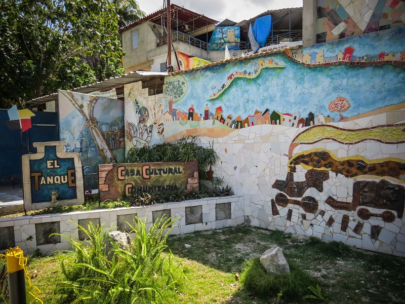 Muraleando, filled with art, color, textures of mosaics, schulptures, and wall murals, transformed by the resident artists from a town dump into a Cultural Community of artists and musicians.