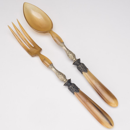 Antique Carved Horn Salad Serving Set