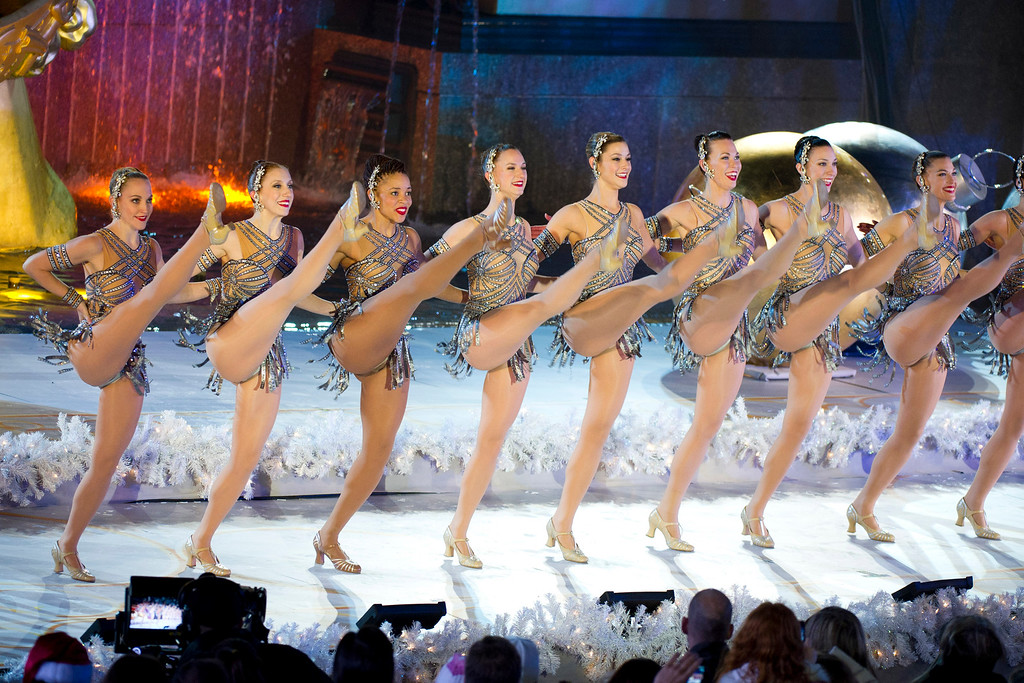 . The Radio City Rockettes perform at the Rockefeller Center Christmas tree lighting, in New York, Wednesday, Nov. 30, 2011. (AP Photo/Charles Sykes)