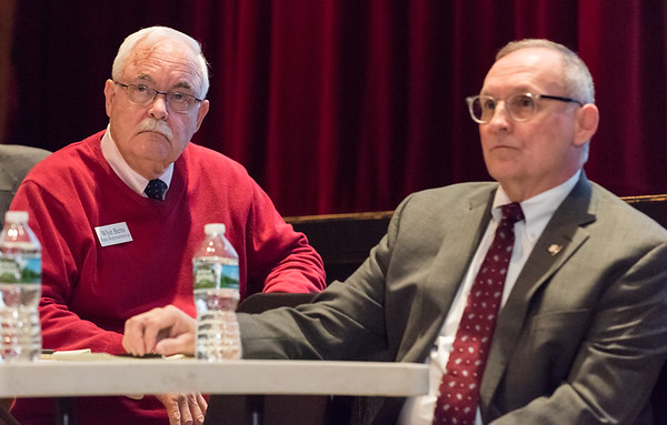 03/25/19 Wesley Bunnell | Staff CT Republicans held a conference on Monday evening at Bristol Central High School to discuss the highway toll proposals as well as alternative options. State Rep. Whit Betts sits near State Senator Henri Martin during the presentation.