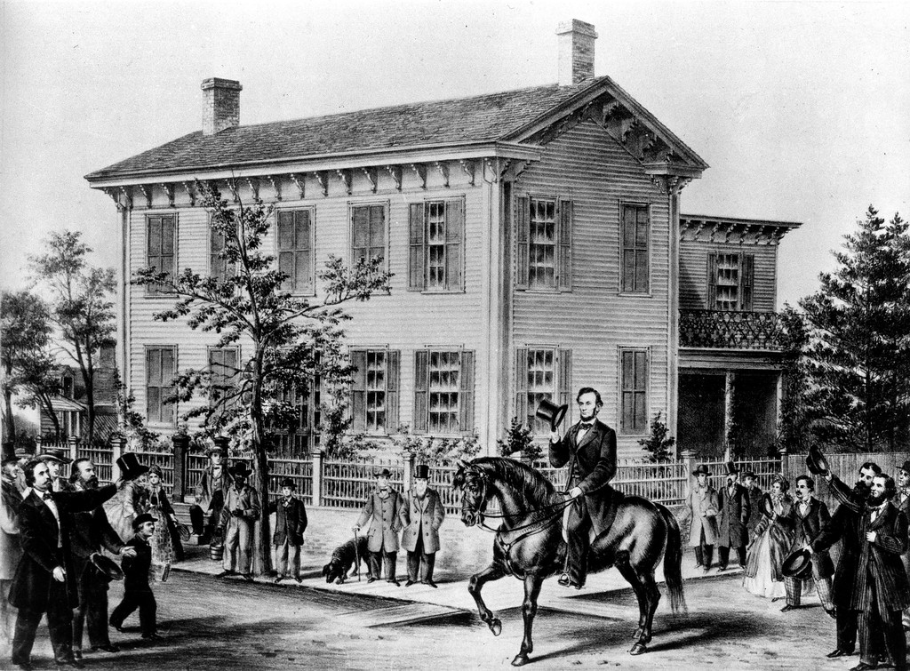 . This drawing shows Abraham Lincoln on horseback as he tips his hat in front of his frame house in Springfield, Ill., where he lived and practiced law from 1835 until he became president in 1861.  (AP Photo)