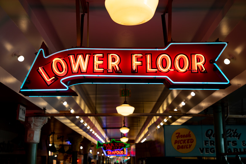 Neon signs in Pike Place Market, Seattle