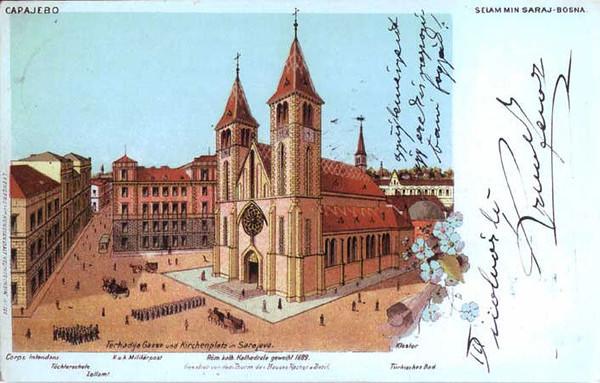 Katedrala, prvostolne Vrhbosanske nadbiskupije, izgradjene od 1884. do 1889. godine u romansko-gotskom stilu.