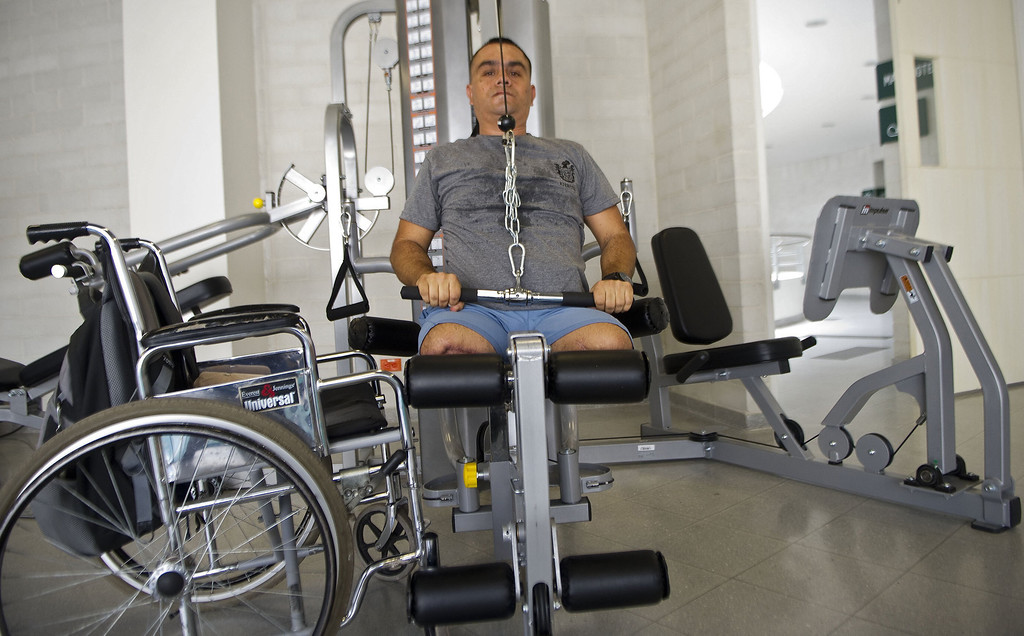 . Colombian soldier William Loaiza, 32, victim of a land mine explosion five months ago, makes exercises during his rehabilitation therapy session at the Heroes de Paramillo hospital  in Medellin, Antioquia department, Colombia on September 11, 2013.  RAUL ARBOLEDA/AFP/Getty Images
