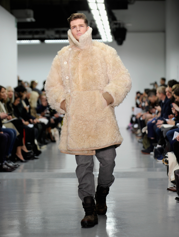 . A model walks the runway at the Christopher Raeburn show during The London Collections: Men Autumn/Winter 2014 on January 7, 2014 in London, England.  (Stuart C. Wilson/Getty Images)