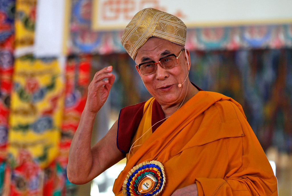 ". Tibetan spiritual leader the Dalai Lama speaks during an event organized to celebrate his 78th birthday at a Tibetan Buddhist monastery in Bylakuppe, about 220 kilometers (137 miles) southwest of Bangalore, India, Saturday, July 6, 2013. Speaking after an interfaith meeting, he said 150,000 Tibetans living abroad represent ""6 million Tibetans (in China) who have no freedom or opportunity to express what they feel.\"" (AP Photo/Aijaz Rahi)"