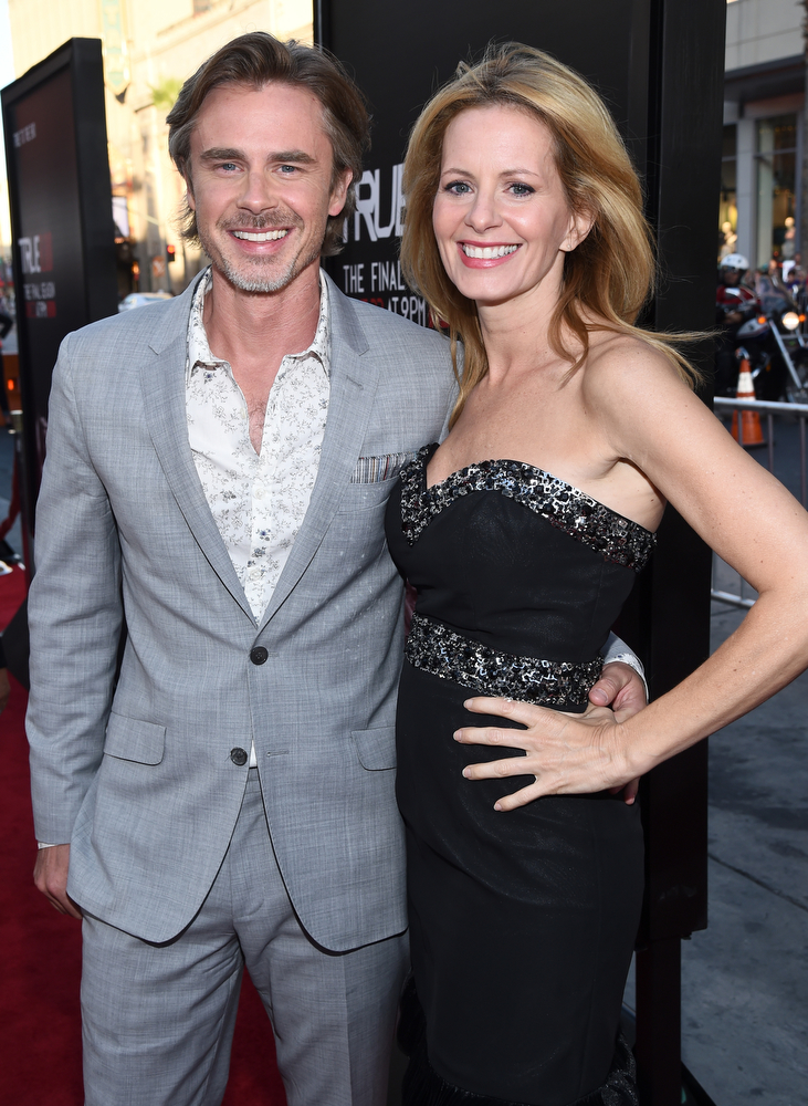 ". Actors Sam Trammell (L) and Missy Yager attend Premiere Of HBO\'s ""True Blood\"" Season 7 And Final Season at TCL Chinese Theatre on June 17, 2014 in Hollywood, California.  (Photo by Michael Buckner/Getty Images)"