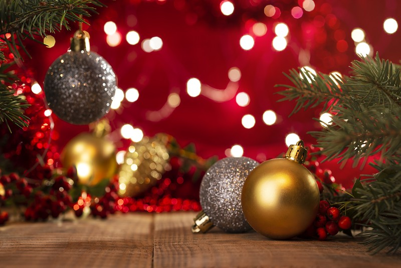 Christmas background, fir branches and Christmas balls