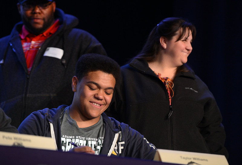 . South High School football player Taylor Williams signed with Adams State University during a ceremony in Denver, CO February  06, 2013. (Photo By Craig F. Walker/The Denver Post)