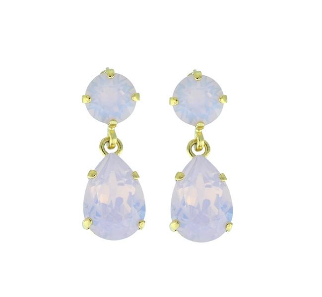 Mini Drop Earrings / Rose Water Opal