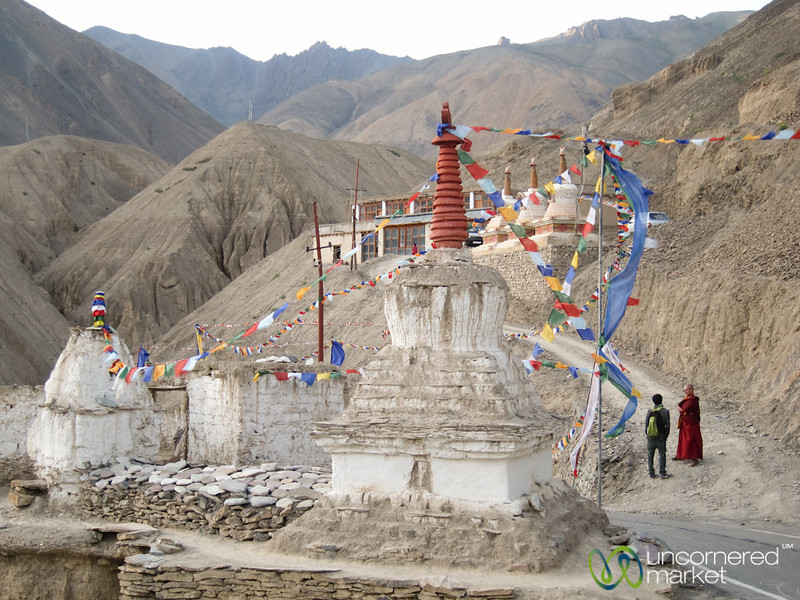 Chortens at Lamayuru Monastery in Ladakh, India
