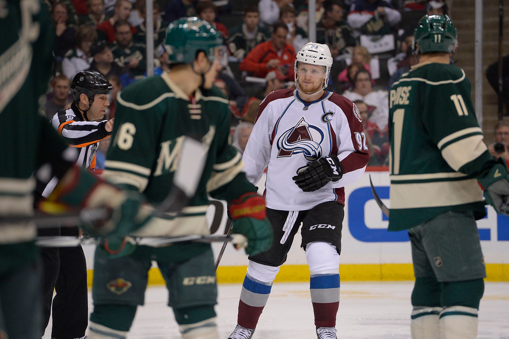 . Colorado Avalanche left wing Gabriel Landeskog (92) looks on during the second period against the Minnesota Wild April 21, 2014 during round 1 game three of the Stanley Cup Playoffs at Xcel Energy Center. (Photo by John Leyba/The Denver Post)