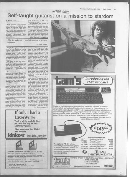Daily Trojan, Vol. 107, No. 10, September 20, 1988