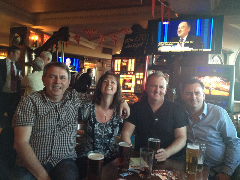 Farrells together at the pub.  Typical.